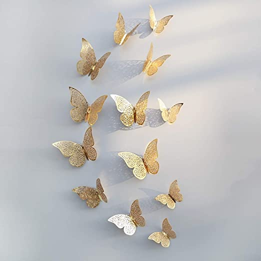 Amazon.com: Batop [12pcs 3D Hollow Butterfly Wall Sticker for Home Decor - DIY Butterflies Fridge Stickers - Room Decoration Party Wedding Decor (Glod B): ...
