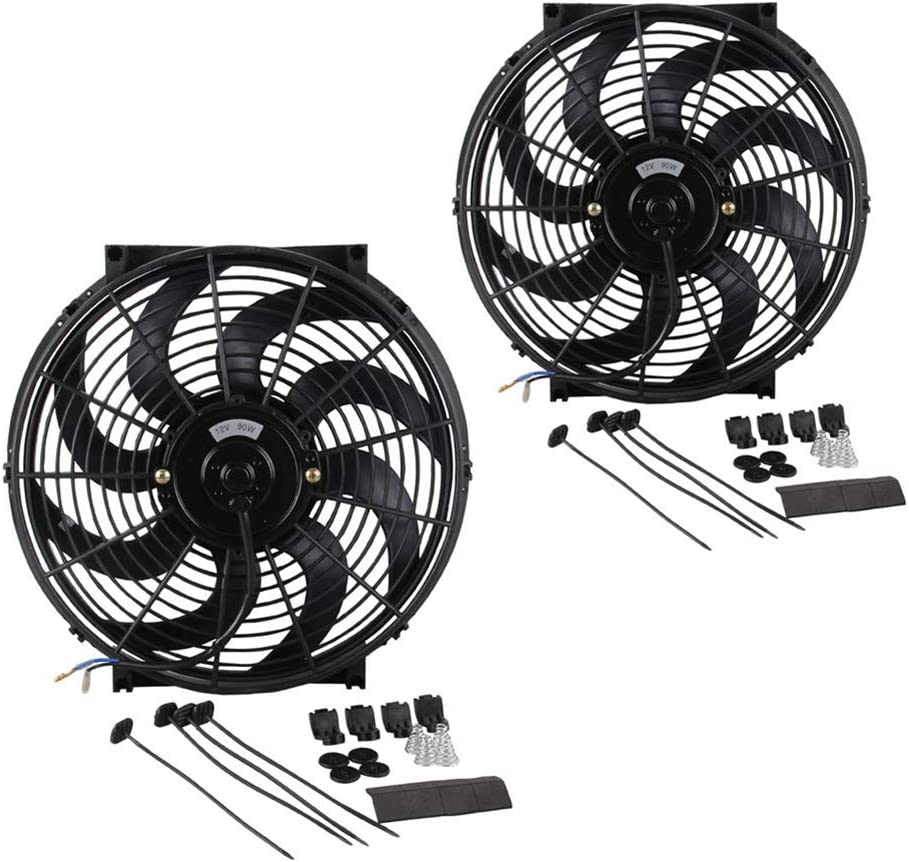 Shentesel Radiator Fan with Mounting Kit Electric Cooling 14inch 12V Universal Push Pull
