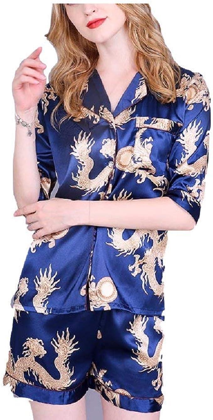 Conjunto De Pijama para Mujer Vintage De Camisa Manga Corta Chaqueta + Pantalones Cortos Estampado De Satén Noche Calentamiento Pijamas De Oveja Ropa De Dormir Negligee: Amazon.es: Ropa y accesorios