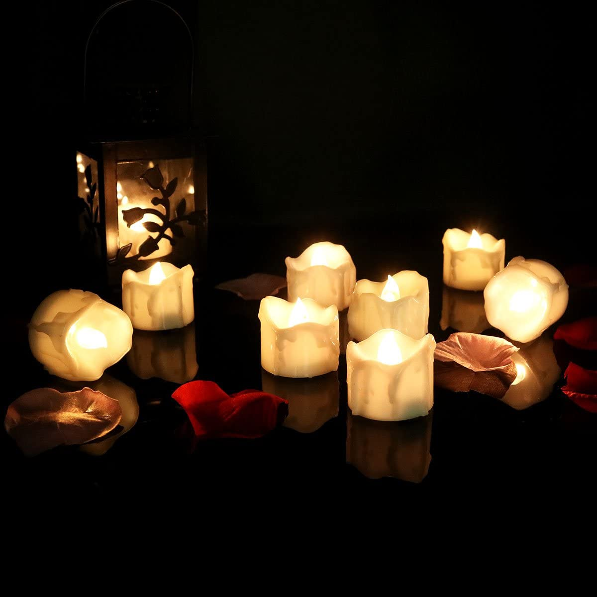 Cozeyat 96pcs Wax-drip Battery Operated Tea Lights, Flameless Votives, Flickering LED Candles for Dinner Table Setting, Centerpiece, Wedding, Anniversary, Birthday Party