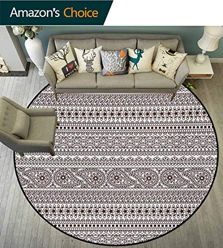 RUGSMAT Ethnic Modern Machine Round Bath Mat,Paisley Floral Leaves Like Borders Stripes Geometric Mosaic Like Art Print Non-Slip No-Shedding Kitchen Soft Floor Mat,Round-71 Inch Black and White