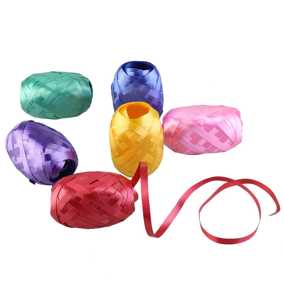 ULTNICE 6pcs pacchetto nastro per regali palloncino nastro Fastener Gift Wrap nastro stringa (colore misto)