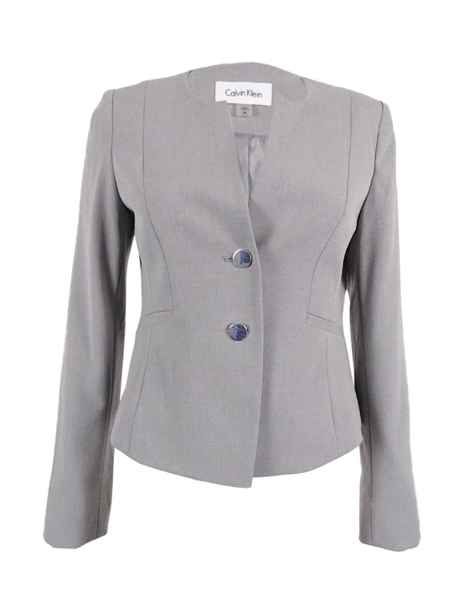 Calvin Klein Women's Petite 2-Button Welt Pocket Blazer (8P, Tin)