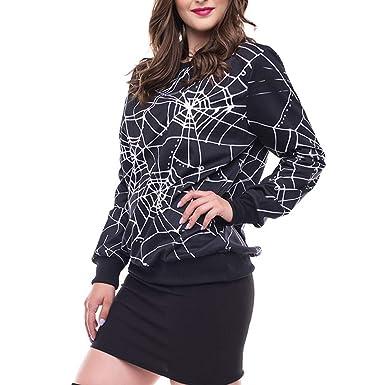 5e278245763 Yusealia Halloween Costumes Women Sweatshirts Long Sleeve Spider Web 3D  Print Casual Womens Tops Clothes Tunic Blouse T Shirts Pullover Sweatshirts  Outwear ...