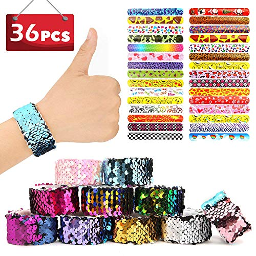 SCIONE 36PCS Slap Bracelets Party Favors for Kids Christmas Mermaid Bracelets School Classroom prizes Reversible Sequin Flip Slap Bands Birthday ()