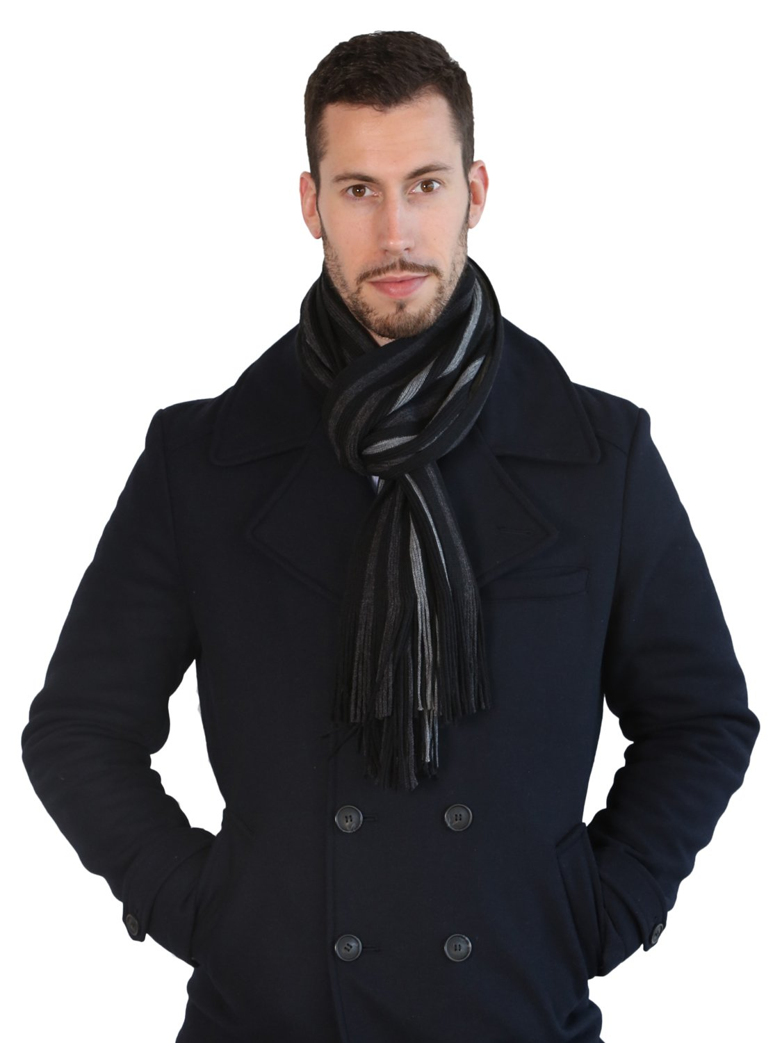Rio Terra Men's Knitted Scarf, Designer Scarves for Winter Fall Fashion, Silver & Grey by Rio Terra (Image #2)