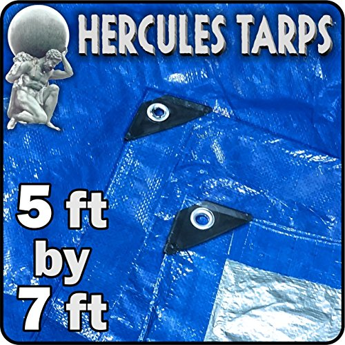 EasyGO Tarp2-5x7-1 Hercules Shelter Cover Waterproof Tarpaulin Plastic Tarp Protection Sheet for Contractors, Campers, Painters, Farmers, Boats, Motorcycles, Hay Bales-5'x7', 5x7