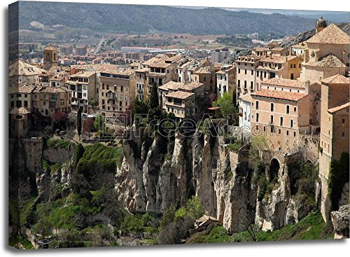 Historic Walled Town Of Cuenca - Spain. This View Shows The Hanging Houses Perched On The Cliffside. Gallery Wrapped Canvas Art (30in. x 40in.) by barewalls