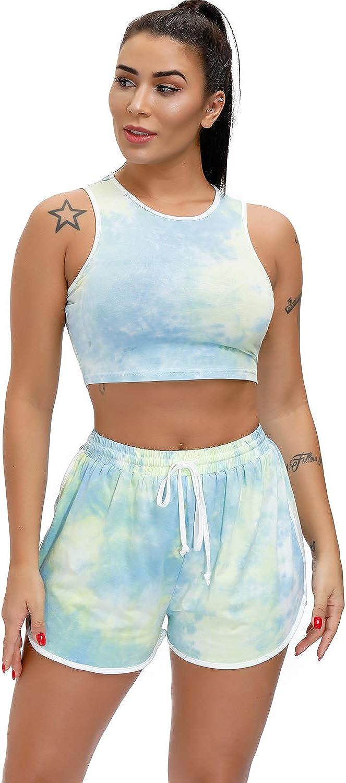 EVELIFE Trainingsanzug Damen Tie Dye Crop T-Shirt Shorts Yoga Gym Workout Kurze Top und Hose Sommer Outfits Zweiteiler Sportanzug Set