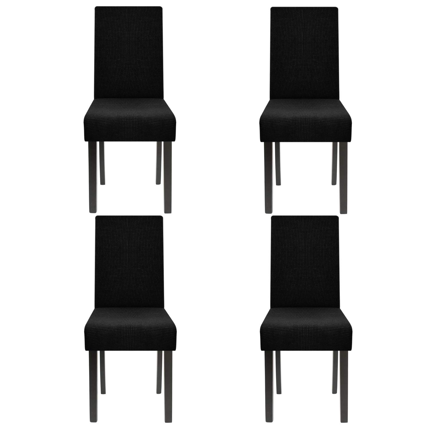 Homluxe High Stretch Chair Covers Dining Room Water Repellent Fabric Parson Chair Slipcovers (2, Black) Huada E-Commerce