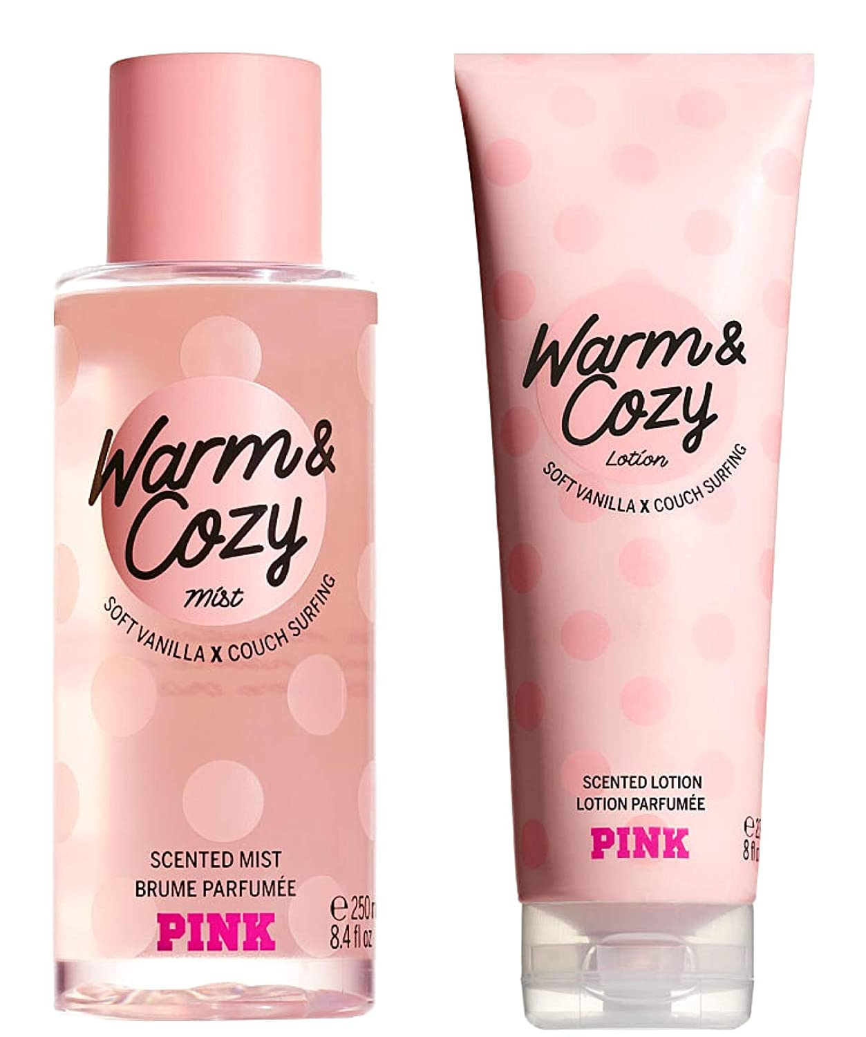 Victoria Secret Pink Warm and Cozy Scented Mist and Lotion Set (2PC) - 8.4 fl oz & 8 fl oz