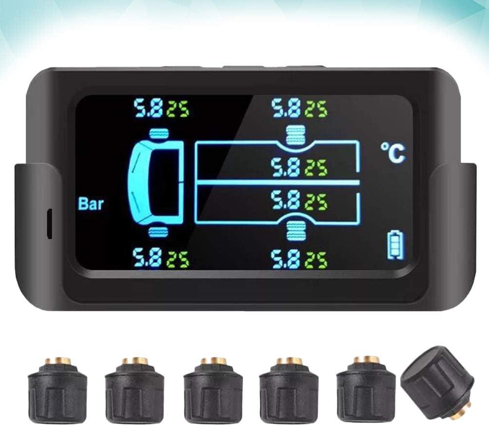 5Bar Solar-Reifendruck/überwachungssystem Drahtloser Reifendrucksensor mit Bildschirmanzeige f/ür 6-Reifen-Lieferwagen 122Psi Schwarz Wakauto 8