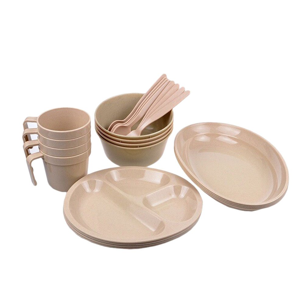 Zhhlaixing Picnic Box with Tableware for BBQ / Festival / Camping / Party Set Including Plates, Bowls, Mugs, Forks, Spoons