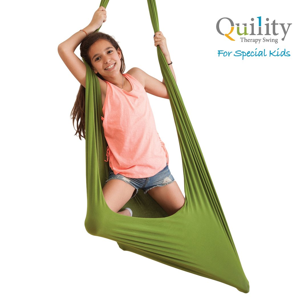 Quility Indoor Therapy Swing for Kids with Special Needs Lycra Snuggle Swing Cuddle Hammock for Children with Autism, ADHD, Aspergers Ideal for Sensory Integration Up to 165lbs, Green