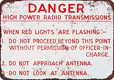 Danger High Power Radio Transmissions Vintage Look Reproduction Metal Tin Sign 12X18 Inches