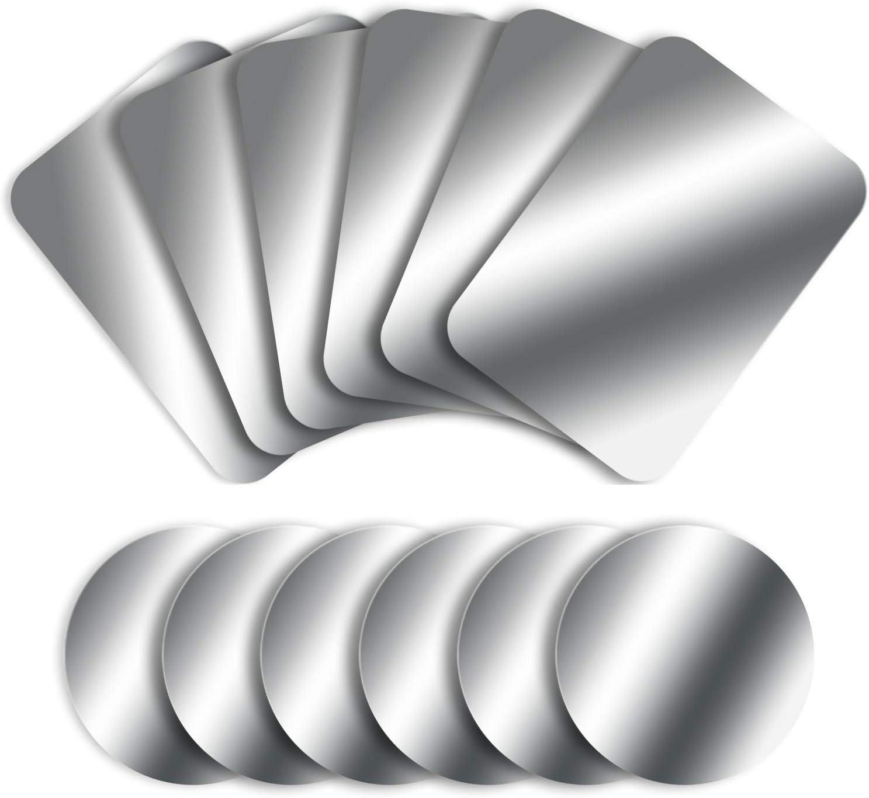 MOSUO 12 Piezas Láminas Metálicas (6 Redondas y 6 Rectangulares) Placas Metálicas con 3M Adhesivo para Soporte Movil Coche Magnético/Iman Movil Coche y Otros Productos de imán - Plata