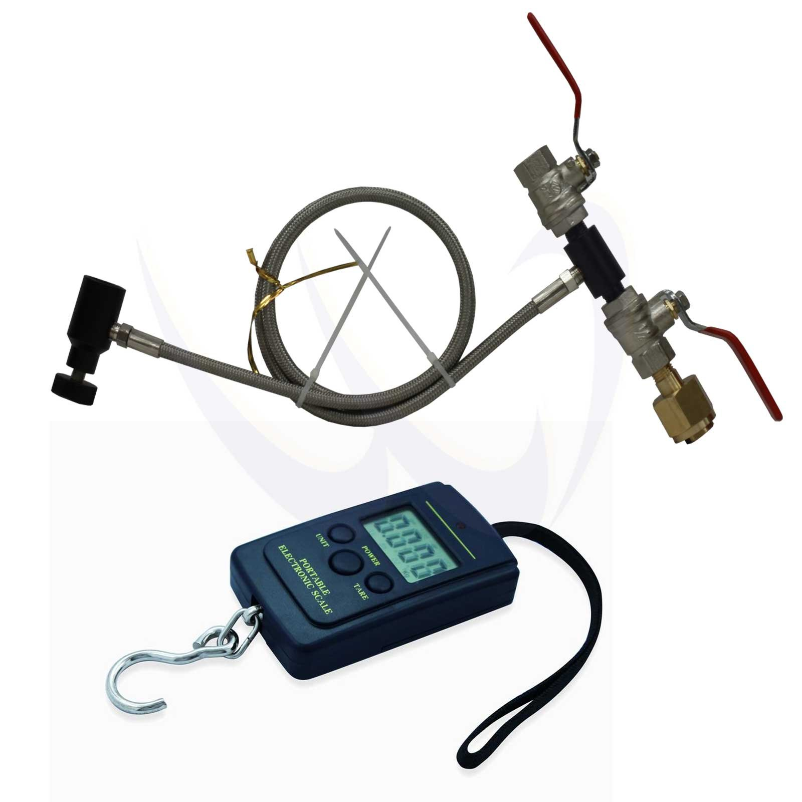 WaveToGo Paintball CO2 Fill Station Tank Dual Valve 50'' Hose + Digital Scale A01L by WaveToGo