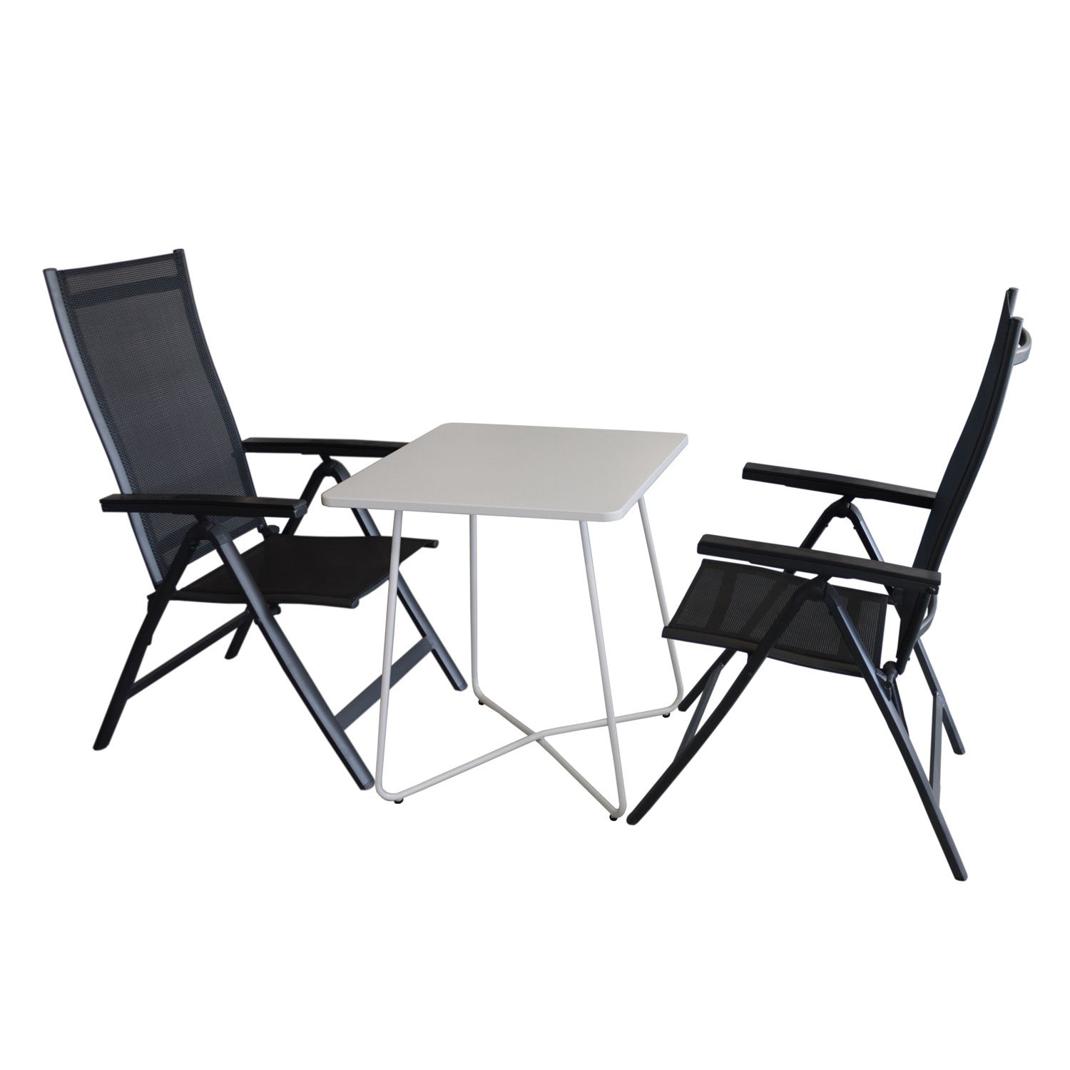 3tlg balkonm bel set bistrotisch metall 60x60cm wei 2x hochlehner aluminium. Black Bedroom Furniture Sets. Home Design Ideas