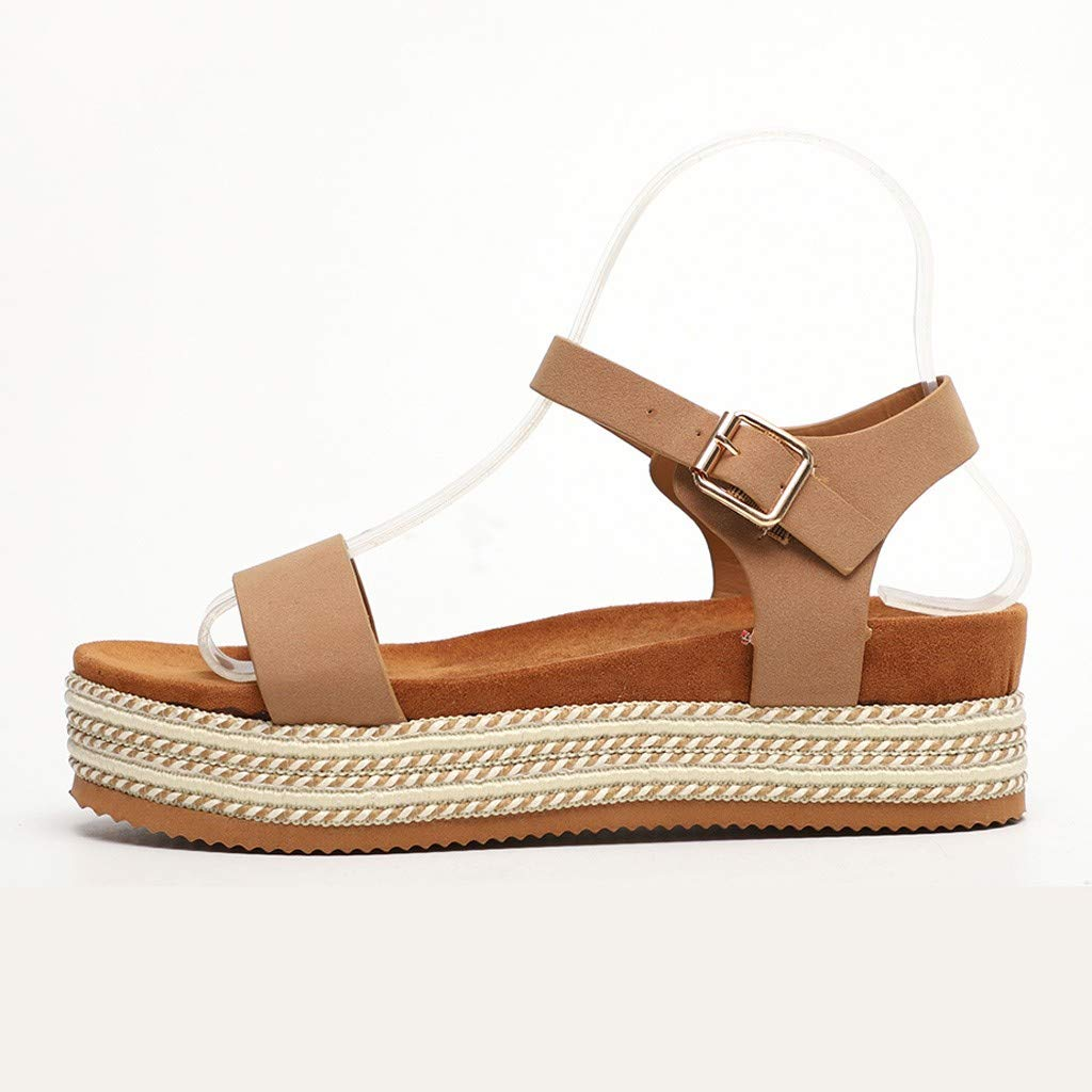 Sharemen Womens Casual Espadrilles Flatform Studded Wedge Buckle Ankle Strap Open Toe Sandals(Khaki,US: 7.5) by Sharemen Shoes (Image #2)