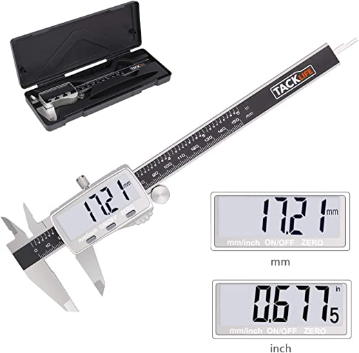 """Digital Caliper, High Accuracy Stainless Steel 150mm 0-6"""" Digital Vernier Caliper with Extra-Large LCD Display, Fine Tuning Screw Button, Inch/Metric Conversion for DIY and Homework - TACKLIFE DC02"""