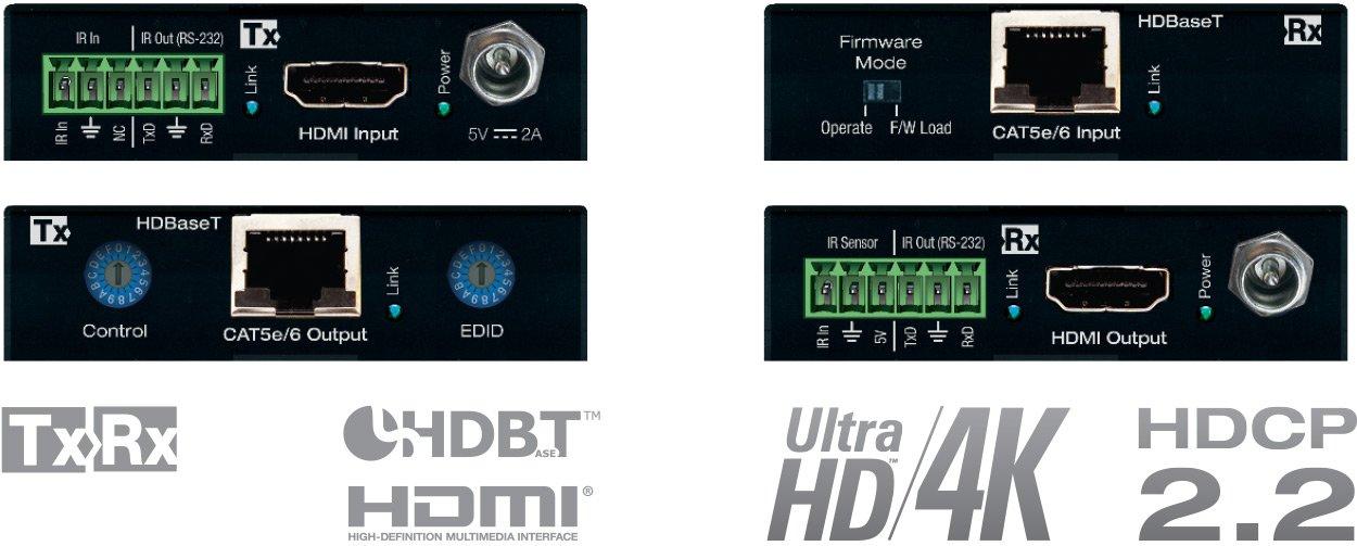 Key Digital KD-X222 HDBaseT/HDMI via Single CAT5e/6 (Tx + Rx Set) Extenders with HDR10, HDCP2.2, 4K