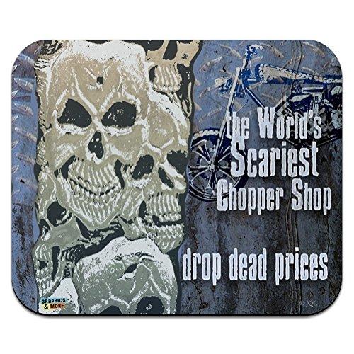 Worlds Scariest Chopper Shop Drop Dead Prices Biker Low Profile Thin Mouse Pad Mousepad