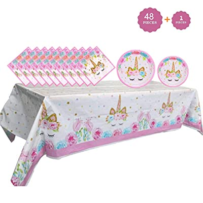 Unicorn Party Supplies Set - Unicorn Plates and Napkins Table Cover   Magical Unicorn Birthday Party Decorations for Girls and Baby Shower - Serves 16: Toys & Games