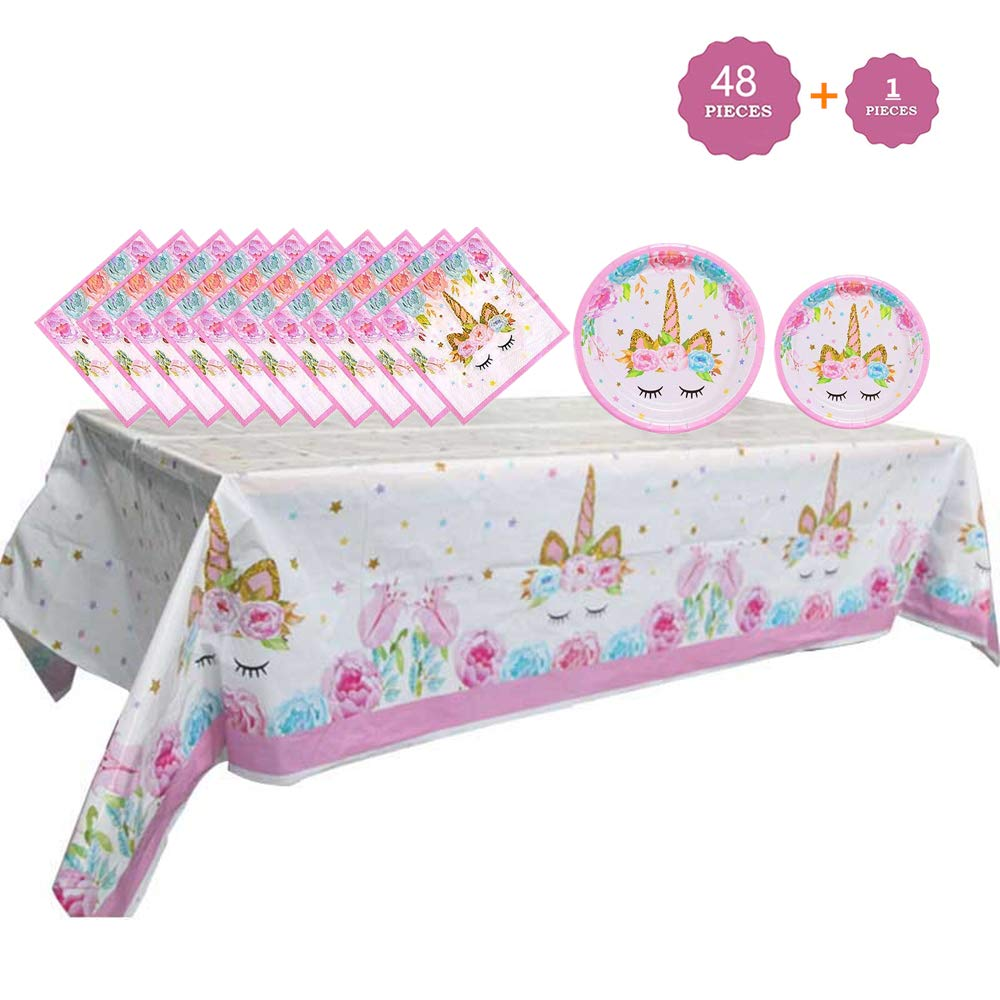 Party Supplies Set - Unicorn Plates and Napkins Table Cover | Magical Unicorn Birthday Party Decorations for Girls and Baby Shower - Serves 16-49 Pcs …