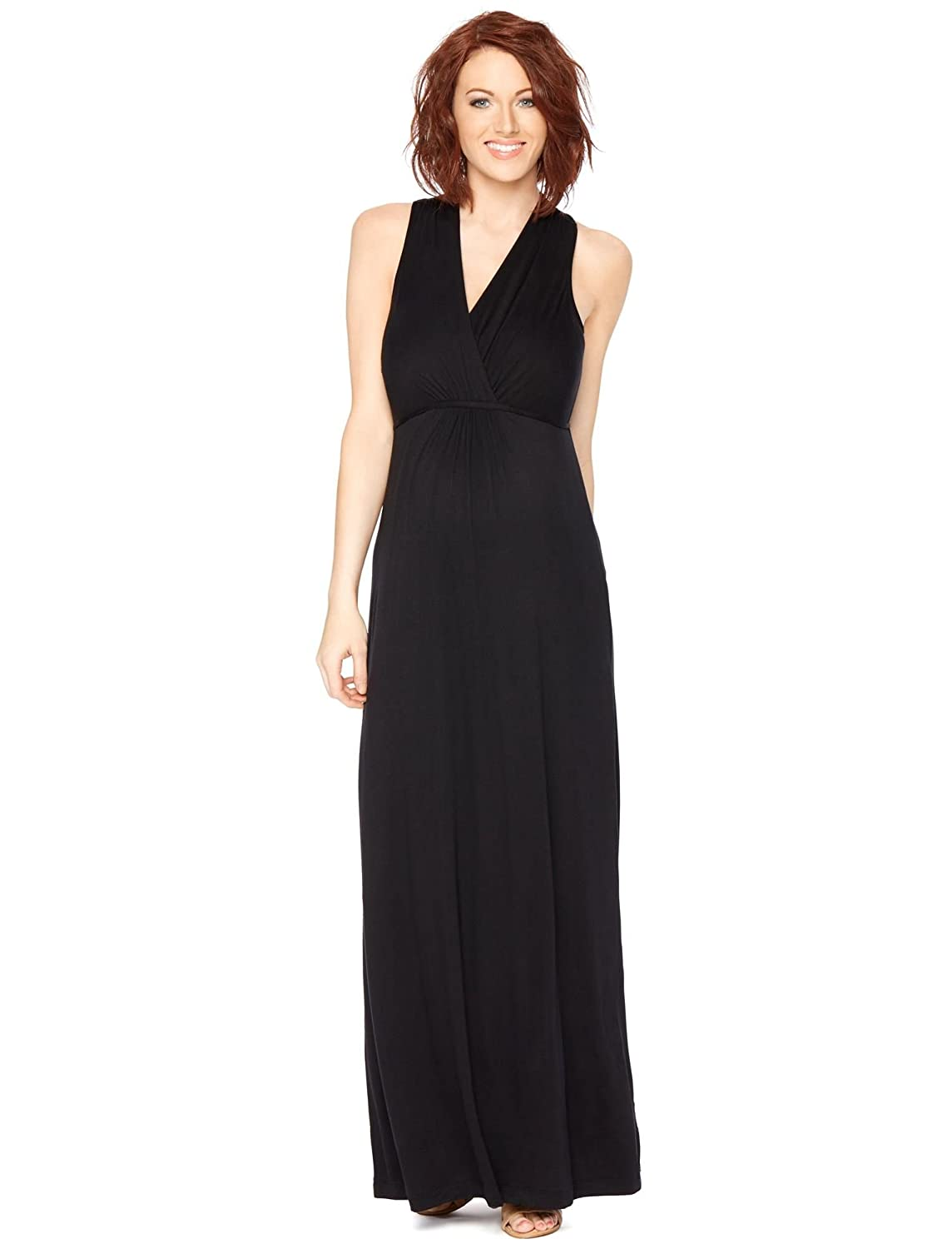 Motherhood Maternity Women's Sleeveless Surplice Maxi Dress with Empire Waist Tie, 96056