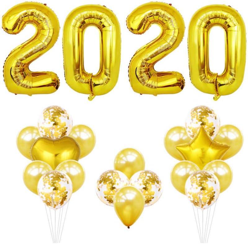 Toyvian 32 Pulgadas 2020 número Globos de Papel 2020 Decoraciones de graduación Fiesta de Fin de año Suministros para Fiestas (Dorado)