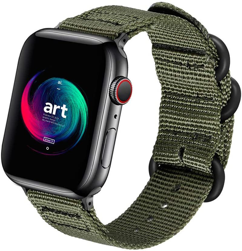 ONMROAD Compatible with Apple Watch Band 44mm 42mm Nylon NATO iWatch Bands Series 5 Series 4 Series 3 2 1 Men Women Replacement Strap Military Style Soft with Rugged for Sport Wristband - Army Green