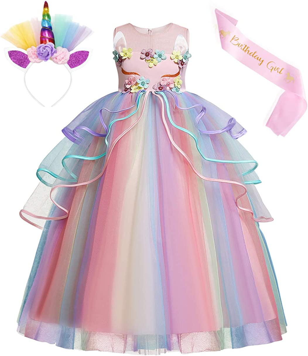 COTRIO Unicorn Birthday Max 60% OFF Party Costume famous Dress Girls Evening Flower