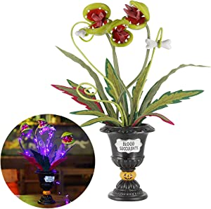 "Twinkle Star Halloween Decorations, 18.5"" Lighted Table Artificial Flowers, Halloween Ghoulish Garden Succulent Piranha Plant Fake Corpse Flowers, Horror Biting Blossoms Centerpieces Tabletop Decor"