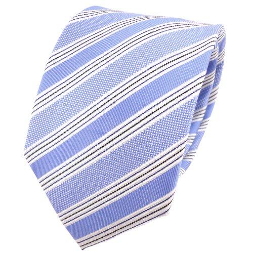 TigerTie cravate en soie bleu claire argent noir rayé - cravate en soie