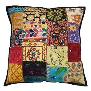 Gujarat Kutch Bordado Cojín 50 cm Patchwork Funda de almohada Decoración del hogar del arte de la India 20 pulgadas