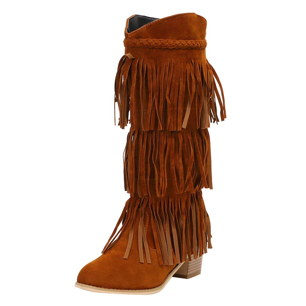 Lataw Women's Boots Stylish Cute Ladies Bohemian Fringe Casual Solid Shoes Ethnic Tassel Lace Knight Boots Thick Heel Shoes Footwear by Lataw