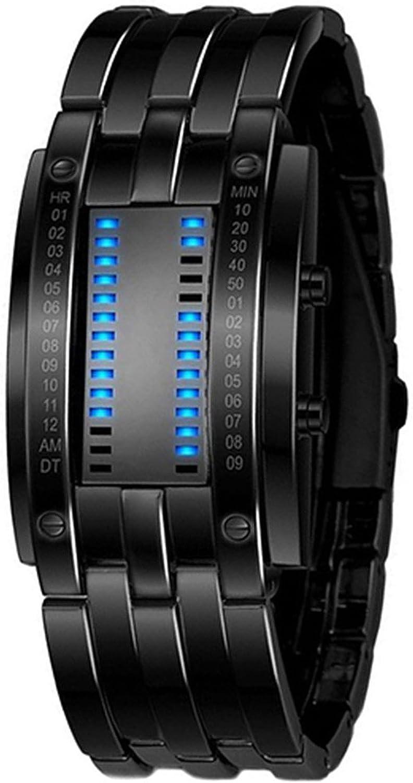 Reloj de pulsera - SODIAL(R)Reloj de pulsera LED de fecha digital de aleacion para hombres (LED azul / pulsera negra)