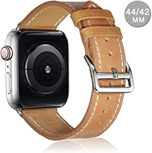 Compatible with Apple Watch Leather Band 42mm 44mm 38mm 40mm | Genuine Leather Replacement Band | Series 5 4 3 2 1 (Classic-CamelBrown, 44mm/42mm)
