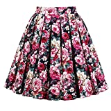 JOAUR Pleated Vintage Circle Skirts for Women Floral Print Skirts with Pockets (L, PrintA)