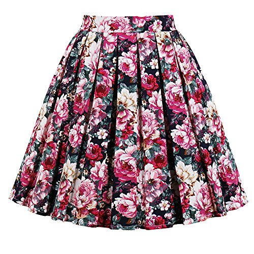 JOAUR Pleated Vintage Circle Skirts for Women Floral Print Skirts with Pockets (L, PrintA) by JOAUR