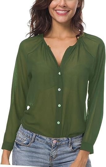 Blusas Mujer con Manga Larga Transparente Camisa Verde 5XL: Amazon.es: Ropa y accesorios