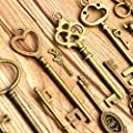 KINGSO 70pcs Antique Vintage Bronze Skeleton Key Charms Set DIY Necklace Pendant Jewelry Making Supplies from KINGSO