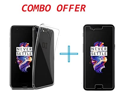 wholesale dealer 7f1be 8b341 ONEPLUS 5T Back Cover Soft Rubber + Tempered Glass by: Amazon.in ...