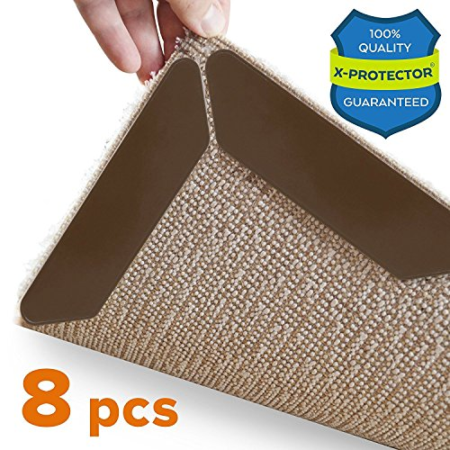 Rug Gripper X-Protector 8 Pack – Best Rug Grippers - Carpet Tape - Anti Curling Carpet Pad. Keeps Your Rug in Place & Makes Corners Flat. Premium Carpet Gripper – Anti Slip Rug Pad for Rug Non Slip! by X-Protector