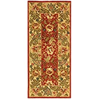 Safavieh Chelsea Collection HK140C Hand-Hooked Red and Ivory Premium Wool Runner (26 x 6)