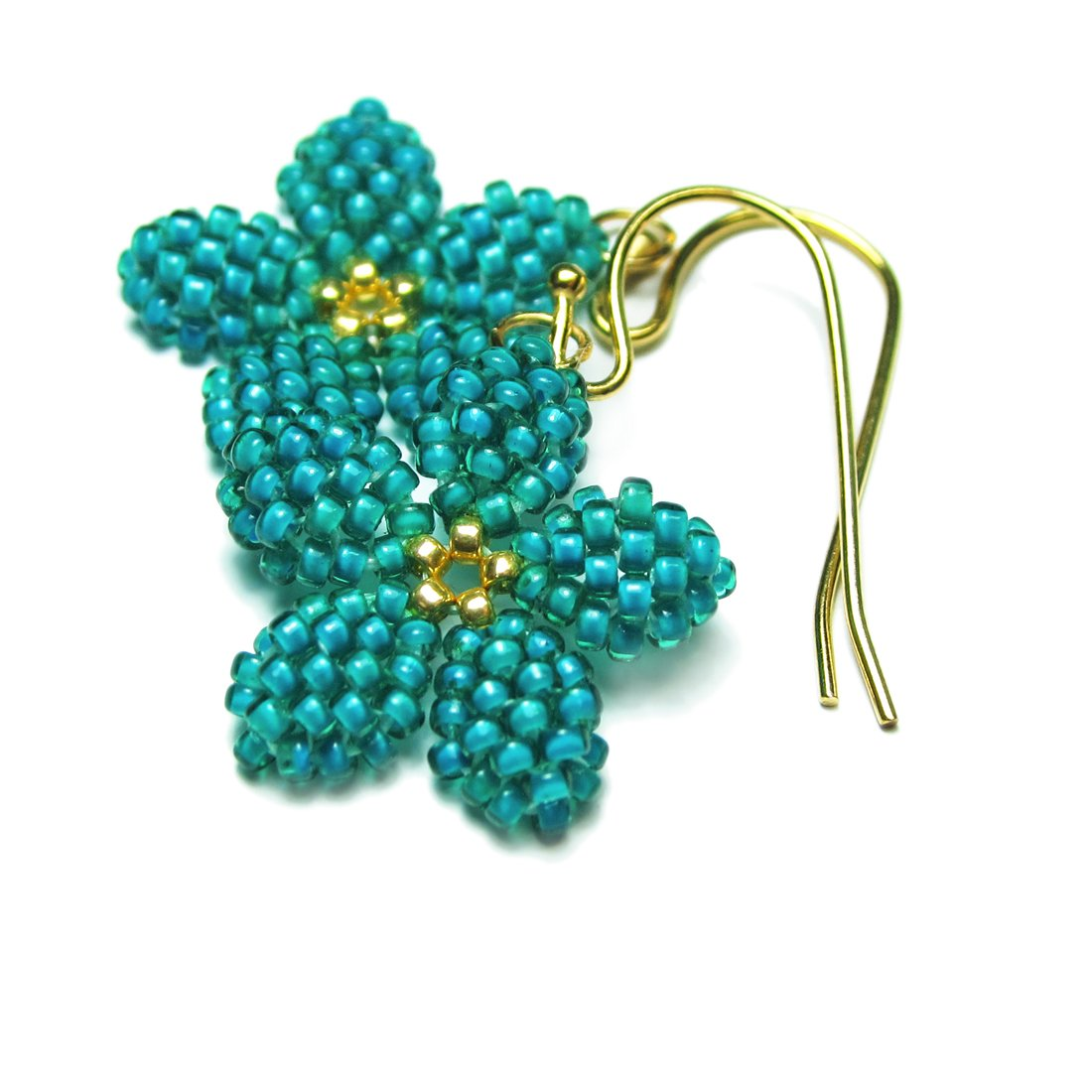 Heart in Hawaii Tiny Plumeria Dangles in Jungle Green with Gold-tone