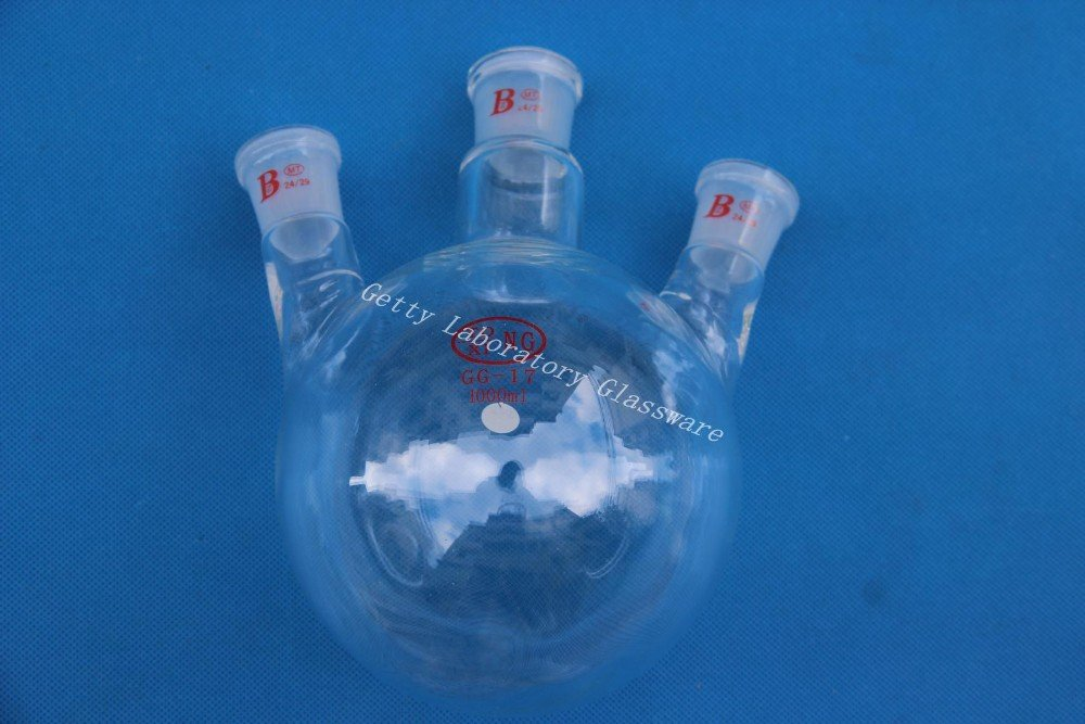 1000  ml (1L) trois cou (3-neck) Fond Rond, fiole, 24/29  Joint, lourds mur 24/29 Joint Beijing Getty Laboratory Glassware Co.