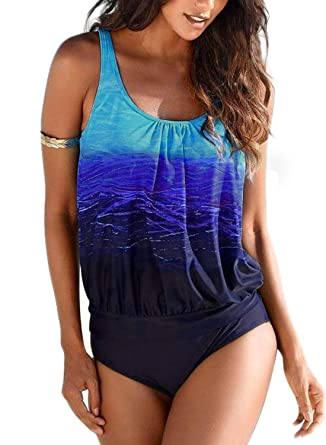 2956234d97065 Amazon.com: Actloe Women Printed Two Pieces Tankini Swimsuit with Triangle Bottoms  Bathing Suits: Clothing