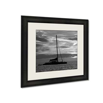 Ashley framed prints ibiza san antonio abad catamaran sailboat sunset wall art home decor
