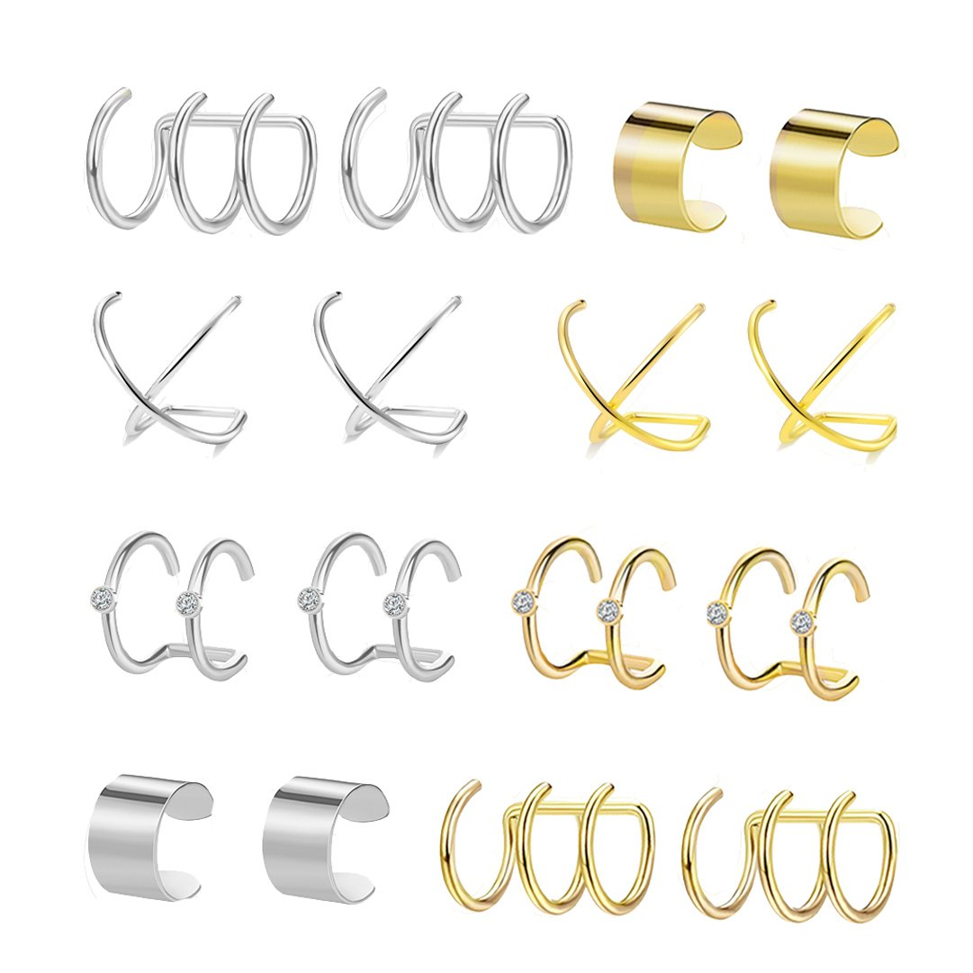 FIBO STEEL 8 Pairs Ear Cuffs Earrings for Women Girls Non-piercing Fake Cartilage Earring